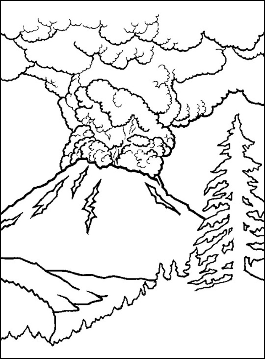 Colouring pages volcanoes - Snowflake Coloring Pages