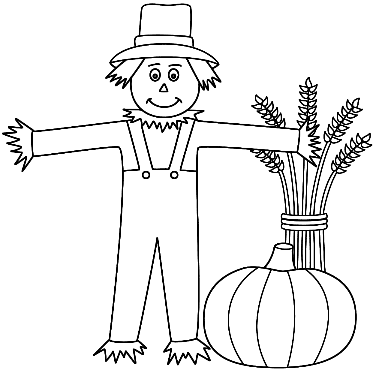 Scarecrow coloring pages to download and print for free