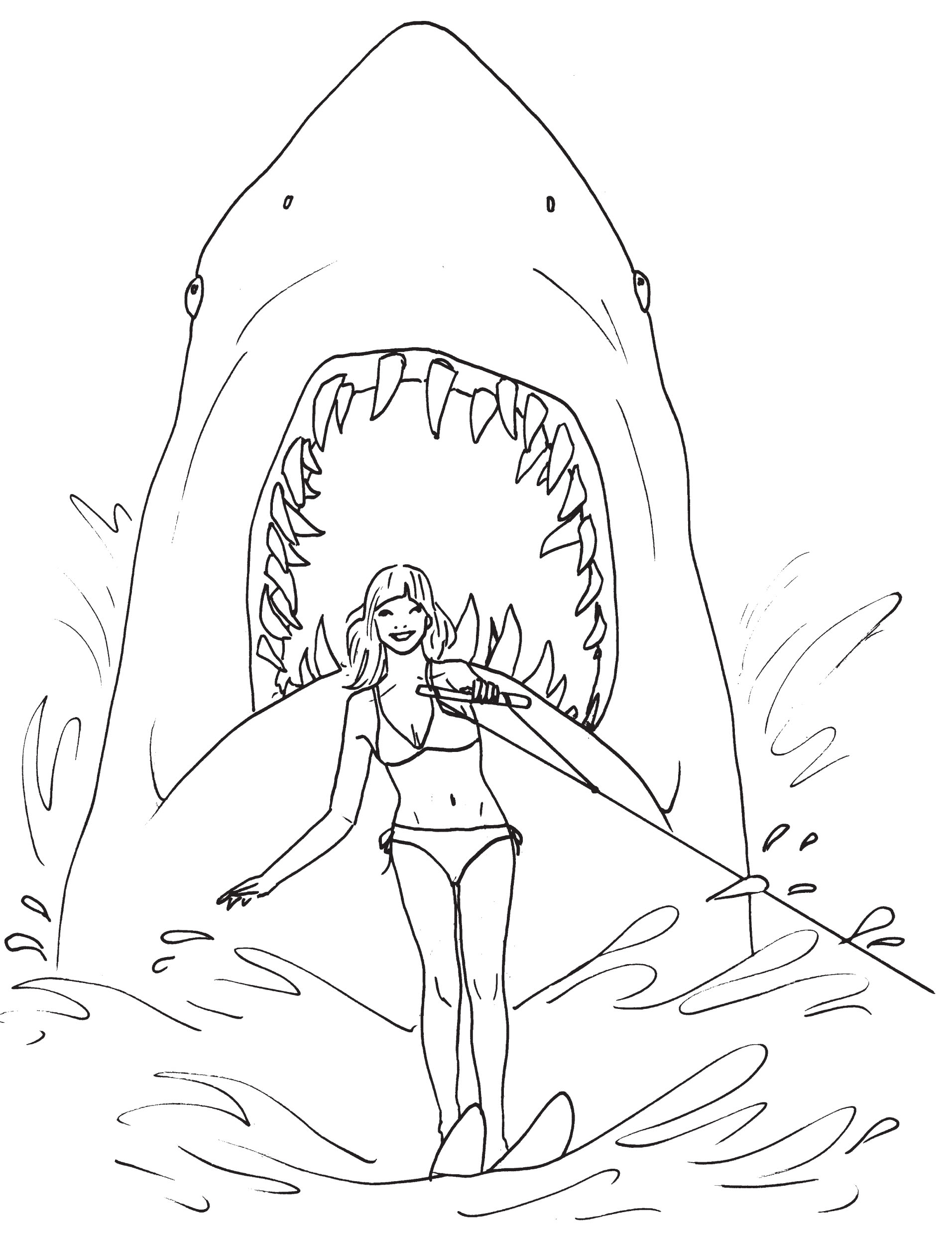 Great white shark coloring pages to download and print for for Free printable shark coloring pages