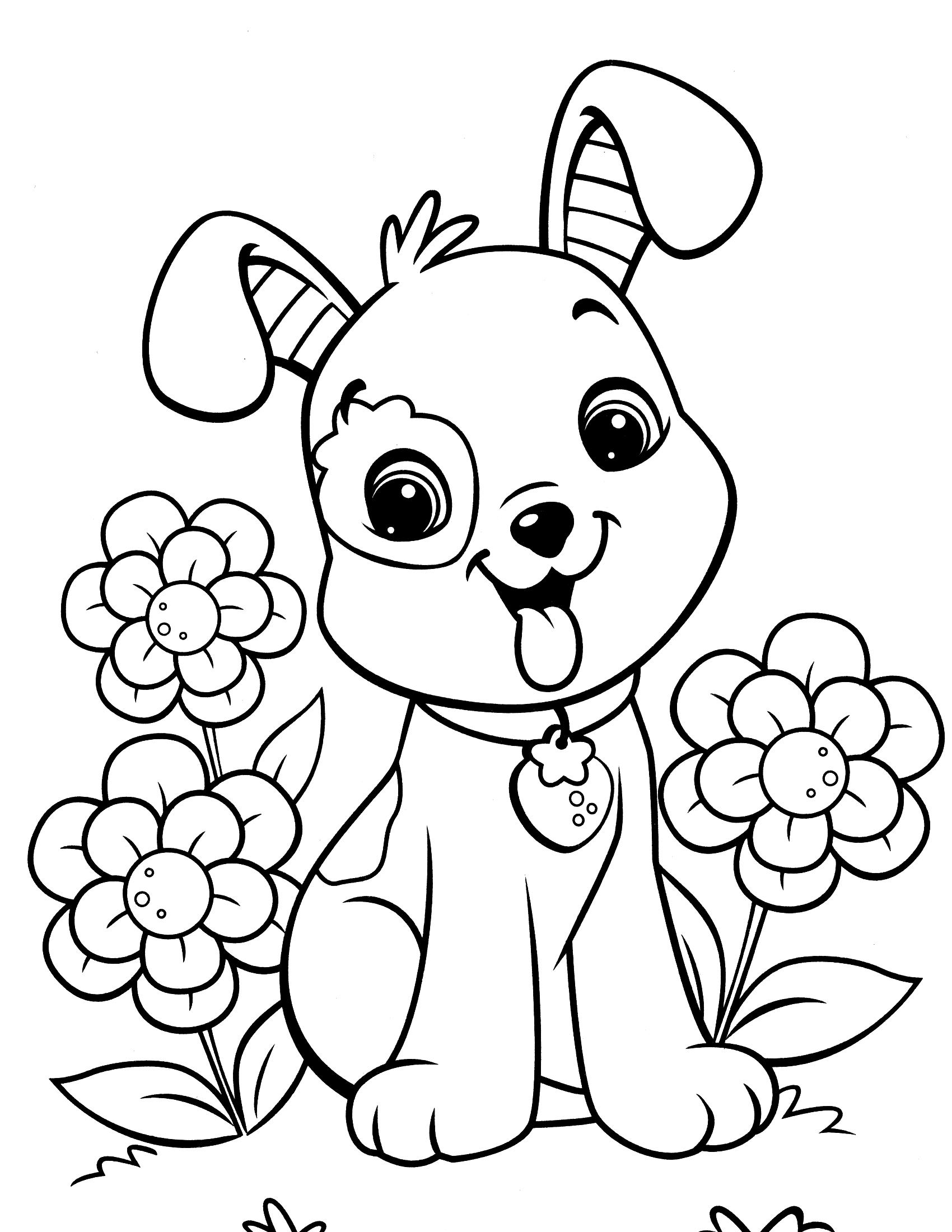 Cute dog coloring pages to download and print for free for Cute puppies coloring pages