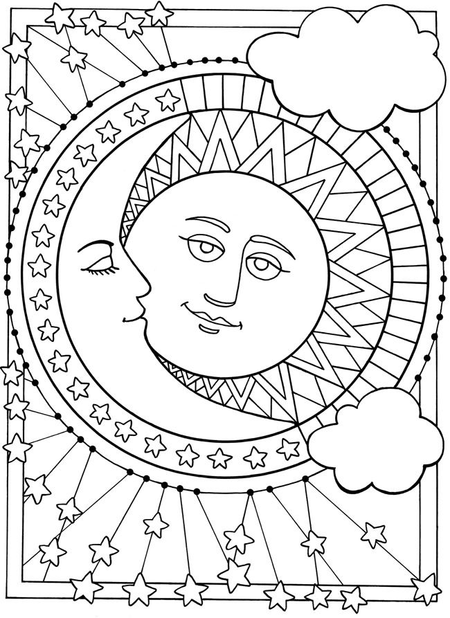Sun and moon coloring pages to download and print for free