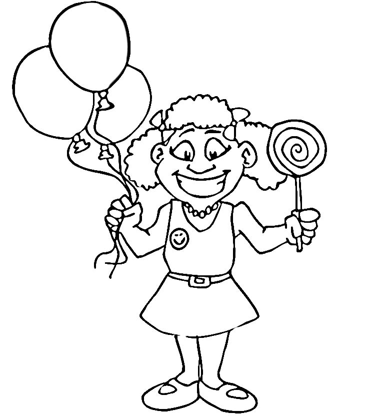 Paard Met Ballonnen Kleurplaat Happy Girl Coloring Pages Download And Print For Free