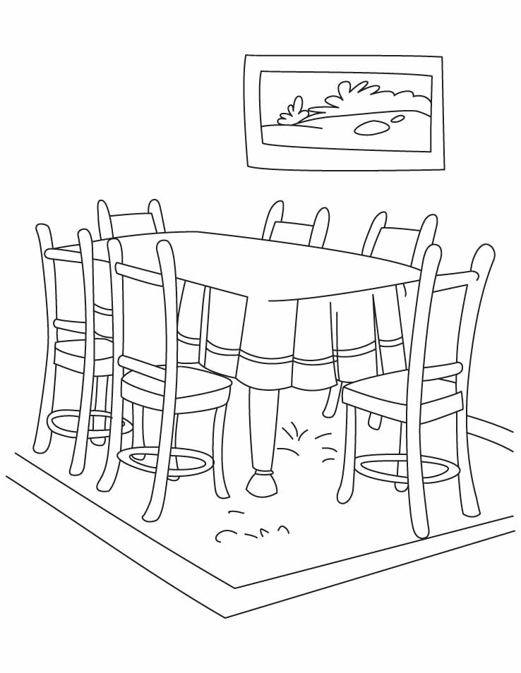 table top coloring pages | Dining room coloring pages download and print for free