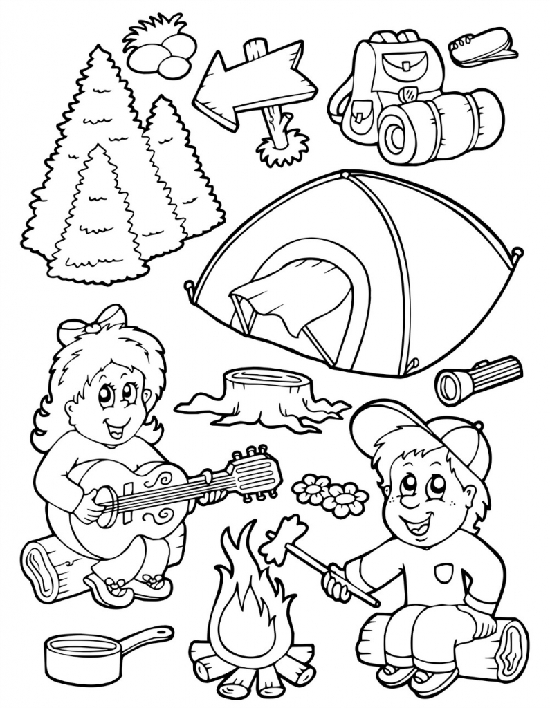 Best Website For Free Coloring Pages : Camping gear coloring pages download and print for free