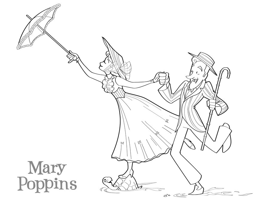 Mary poppins coloring pages to
