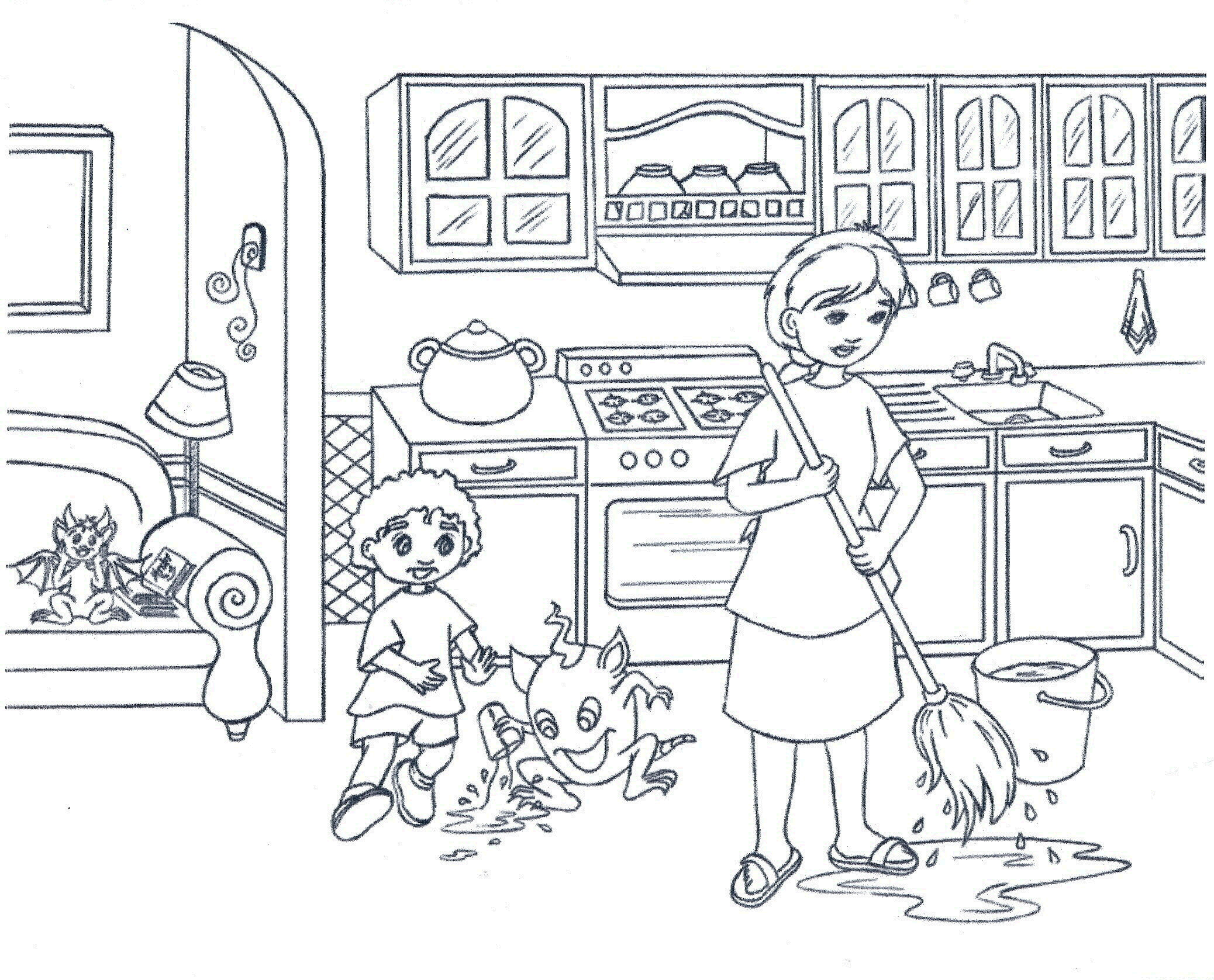 Kitchen coloring pages to download