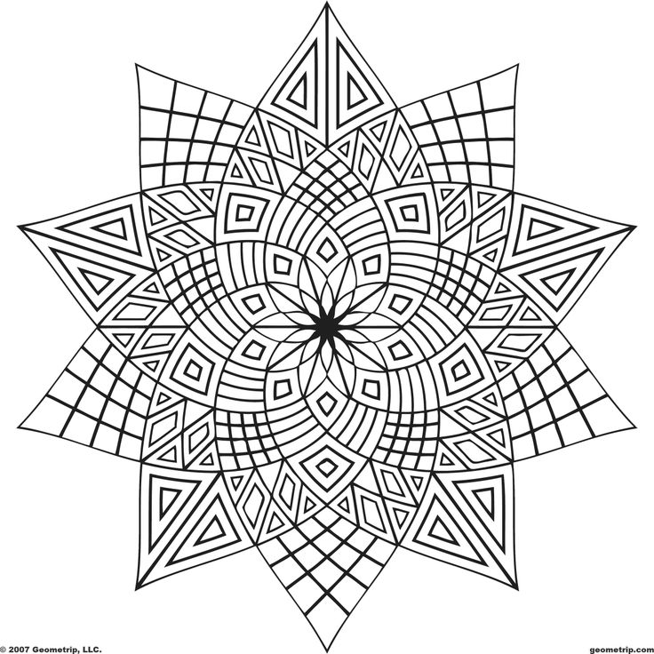 Geometric design coloring pages to download and print for free