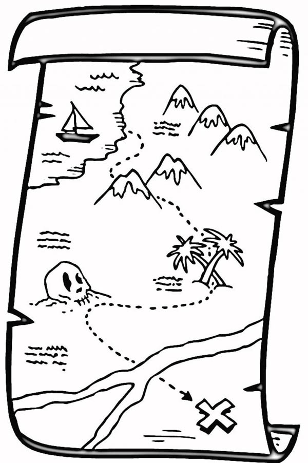 Treasure map coloring pages to download and print for free for Treasure coloring pages