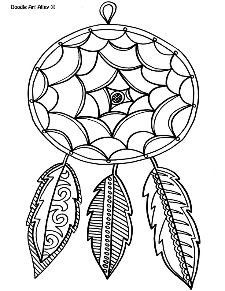 Dream catcher coloring pages to