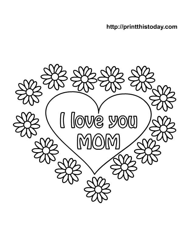 mom and son coloring pages hearts images | I love you mom coloring pages to download and print for free
