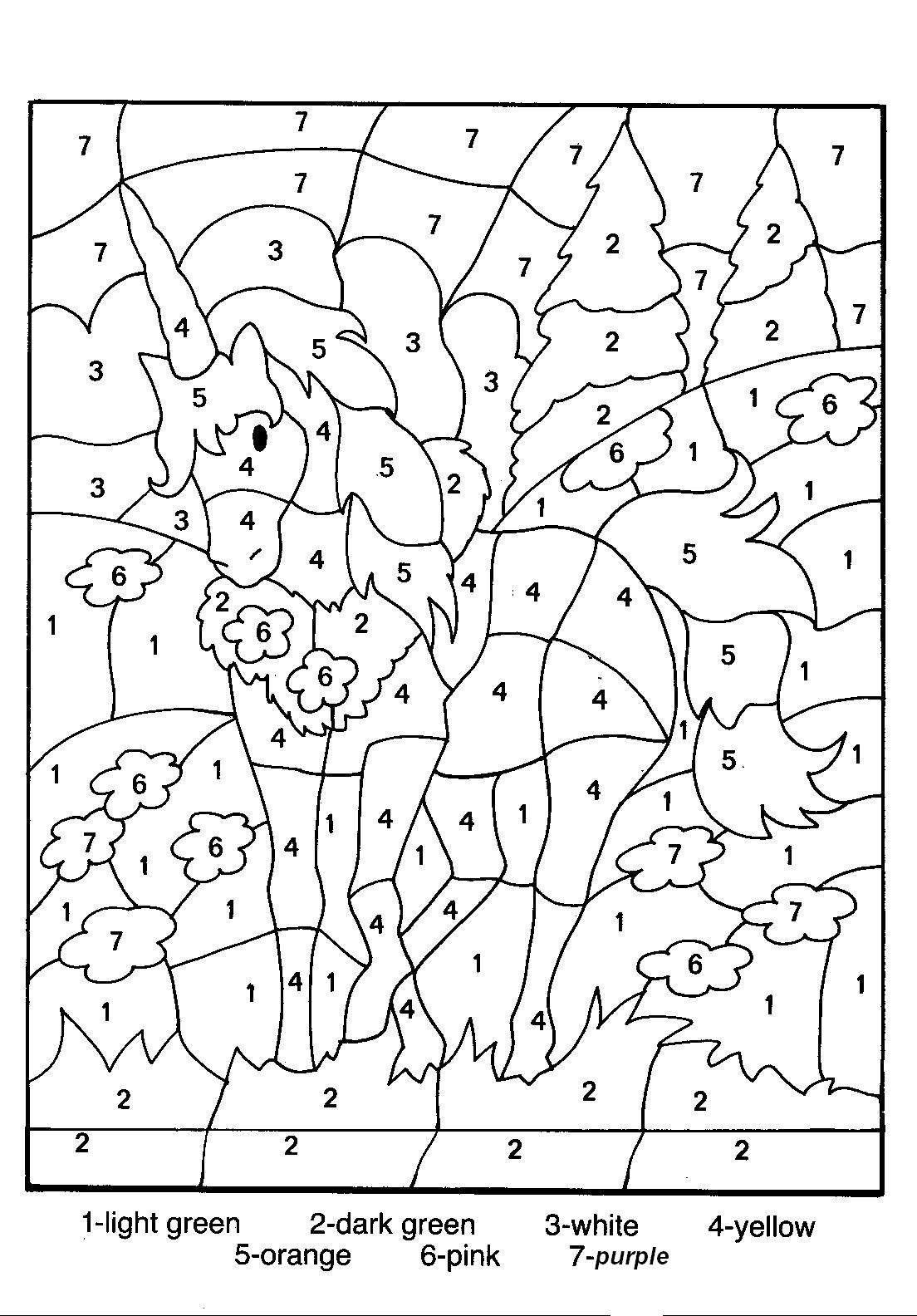 Color Number Coloring Pages Print