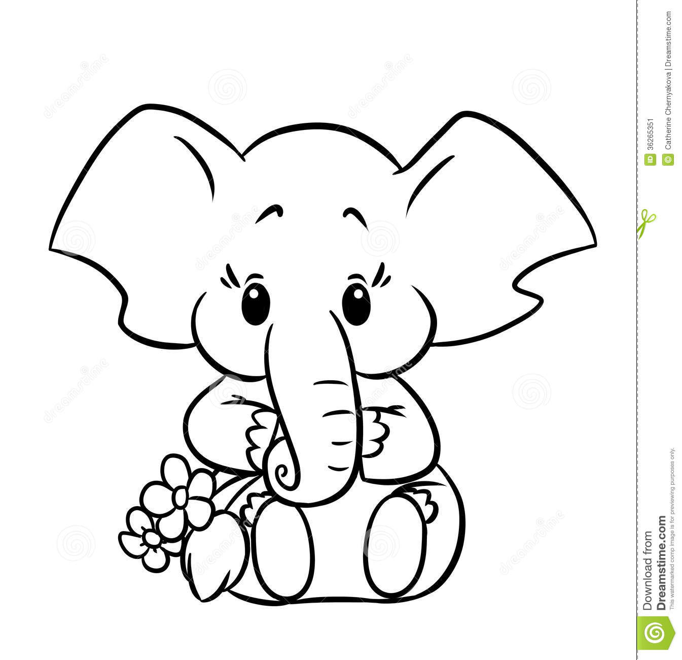 Baby elephant coloring pages to