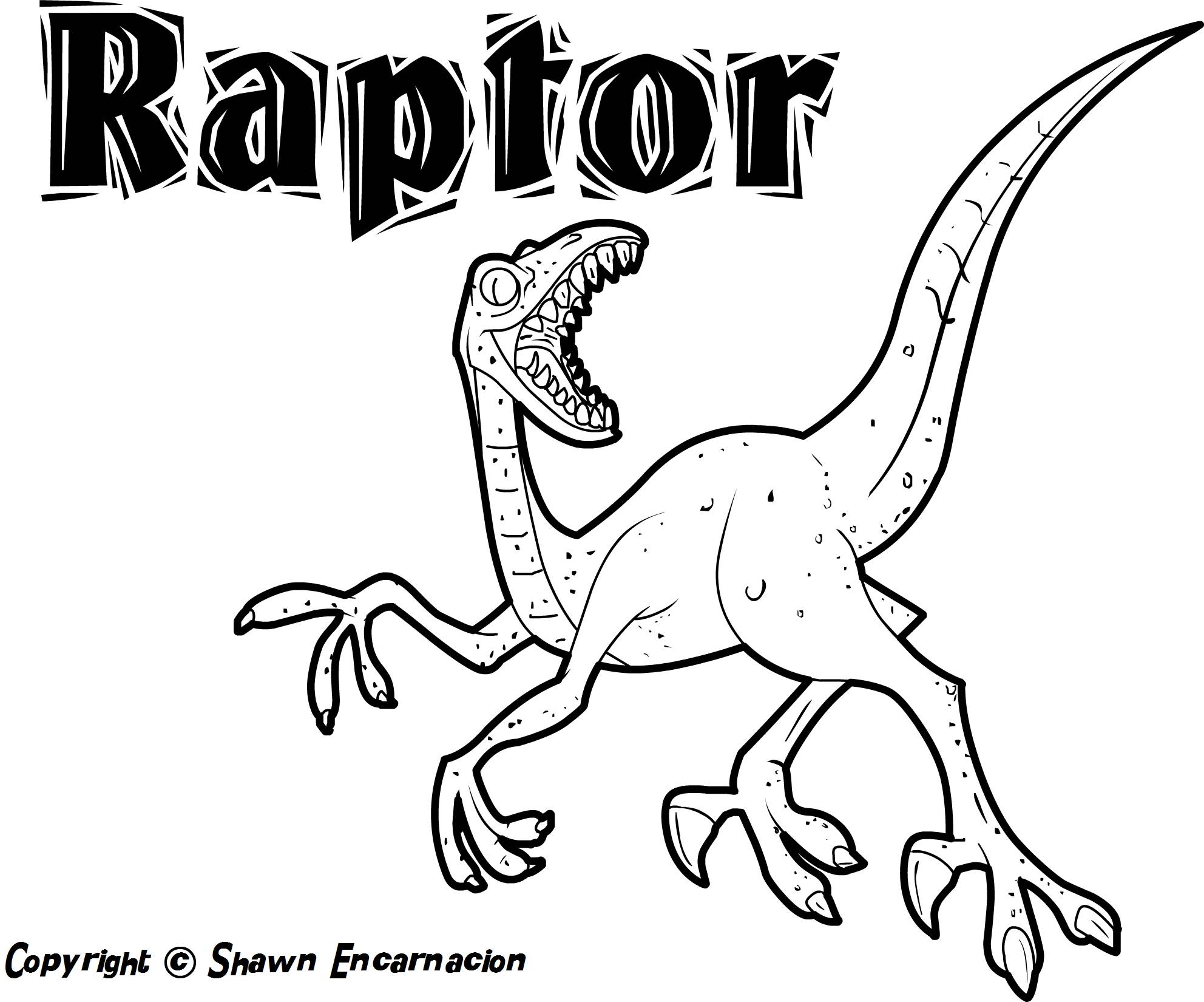 raptor coloring pages - Dinosaur Coloring Pages Printable