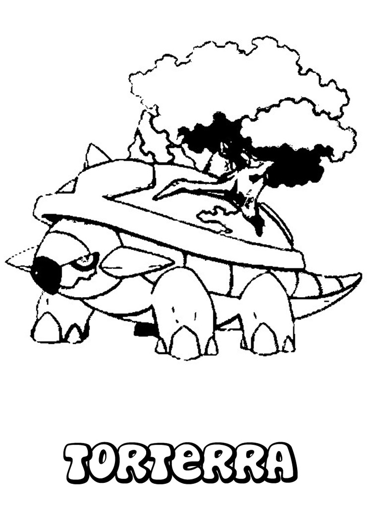 Grotle pokemon coloring pages download and print for free