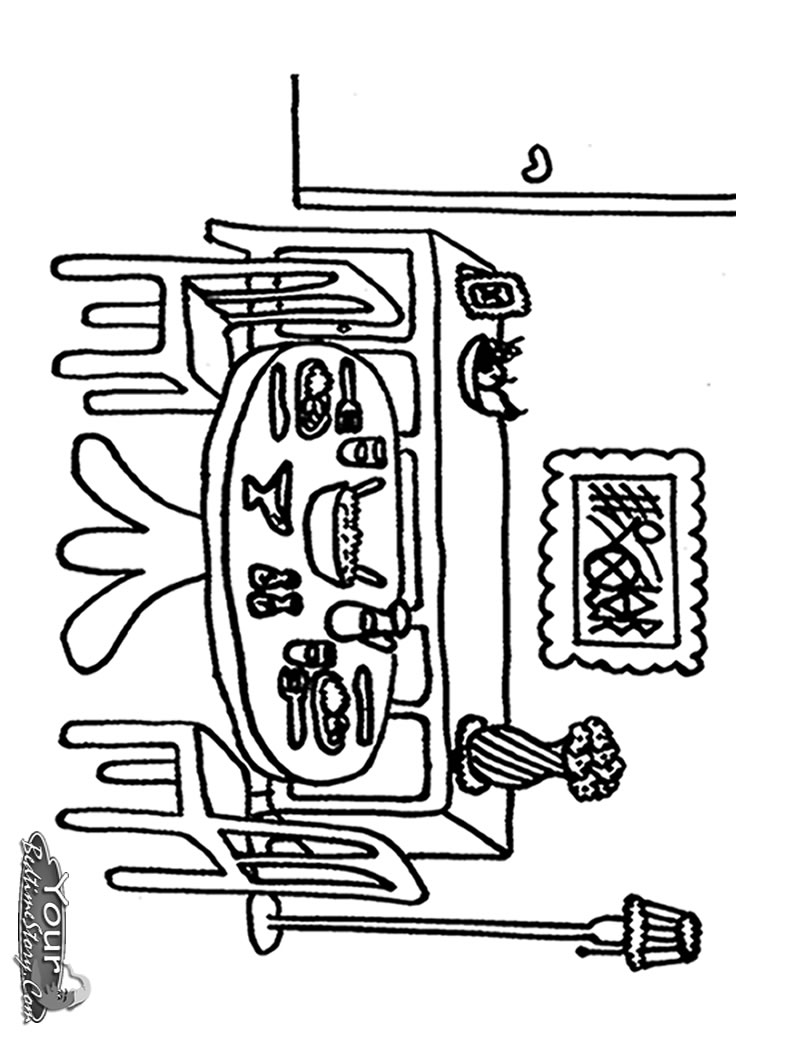 Dining room coloring pages download and print for free for Comedor para colorear