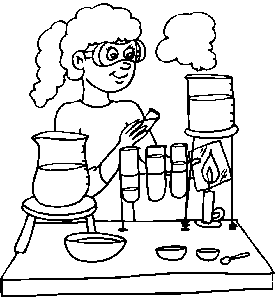 Line Drawing Chemistry : Experiment coloring pages download and print for free