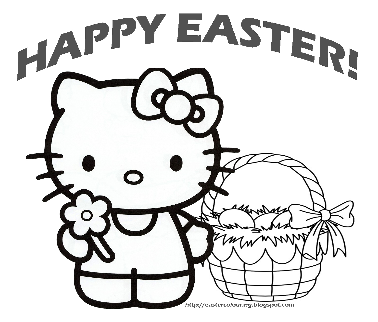 hello kitty easter coloring pages to download and print for free