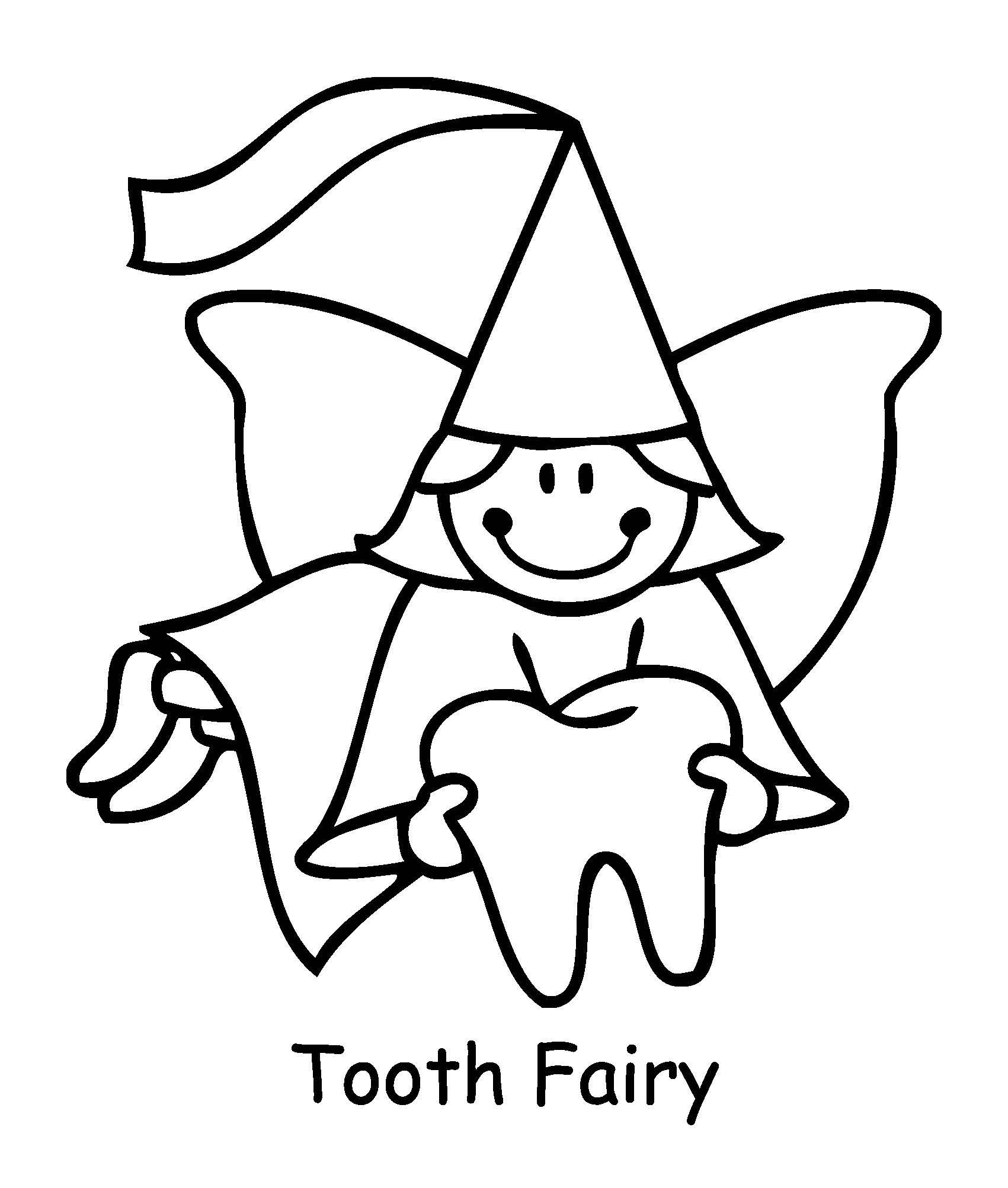 Tooth fairy coloring pages to download and print for free for Teeth coloring pages