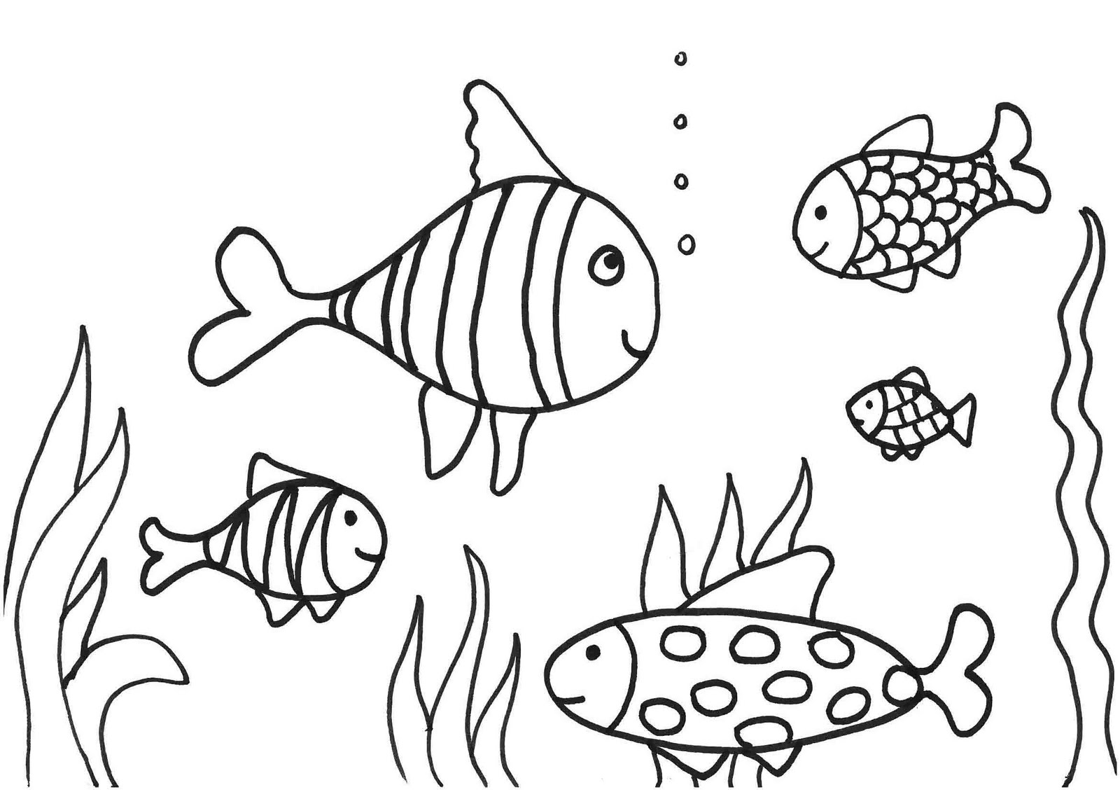 Simple fish coloring pages download and print for free for Free coloring fish pages