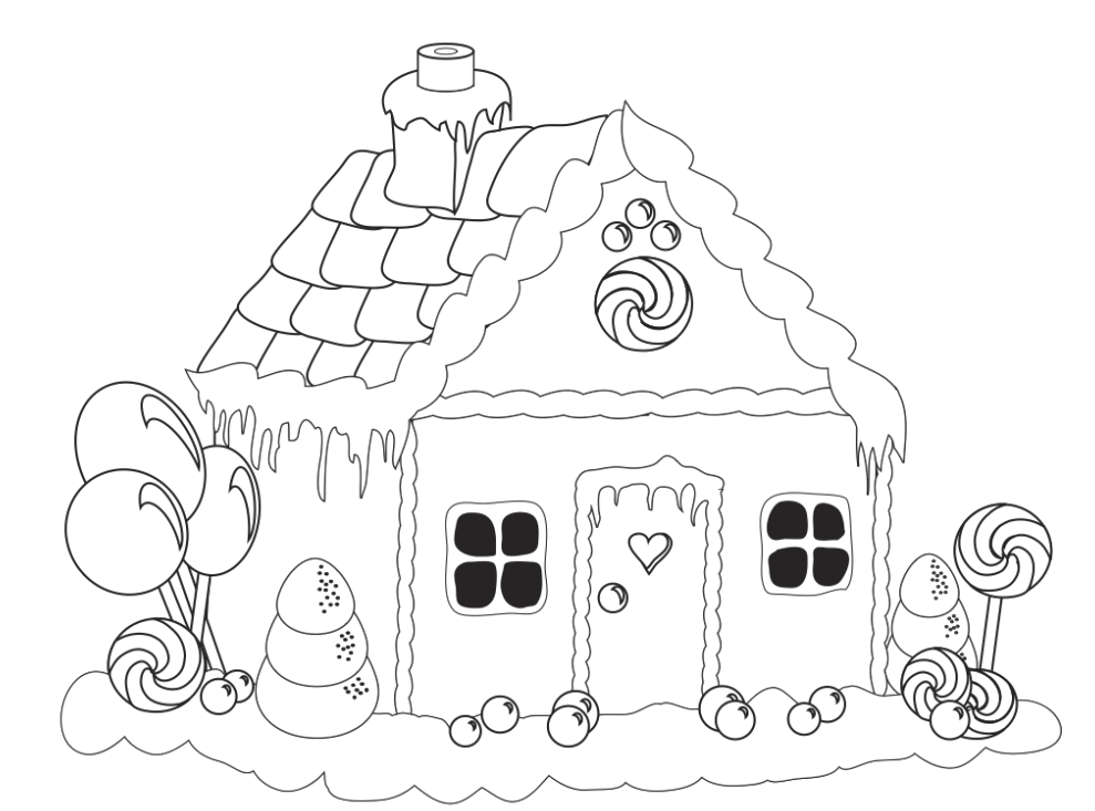 Gingerbread house coloring pages to download and print for ...