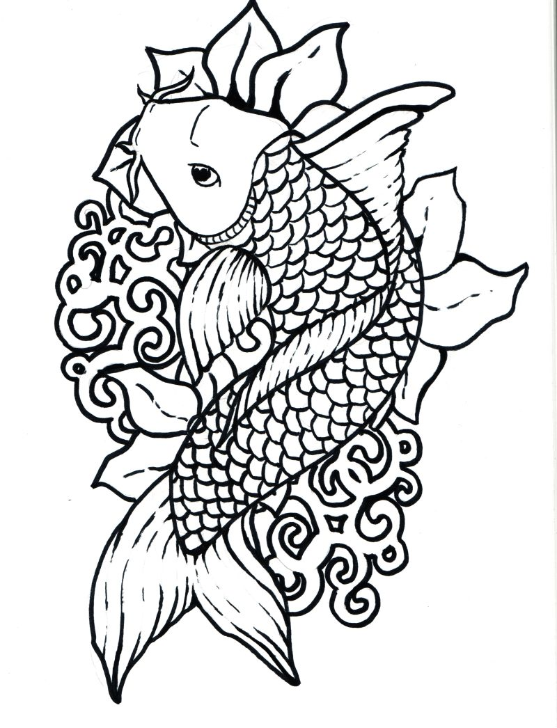 color pages fish - koi fish coloring pages to download and print for free