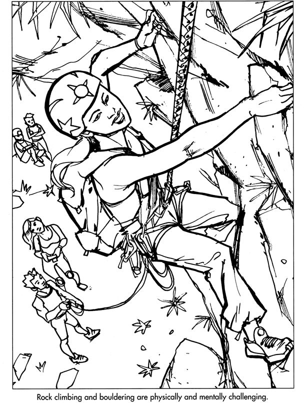 rock climbing coloring pages and print for free