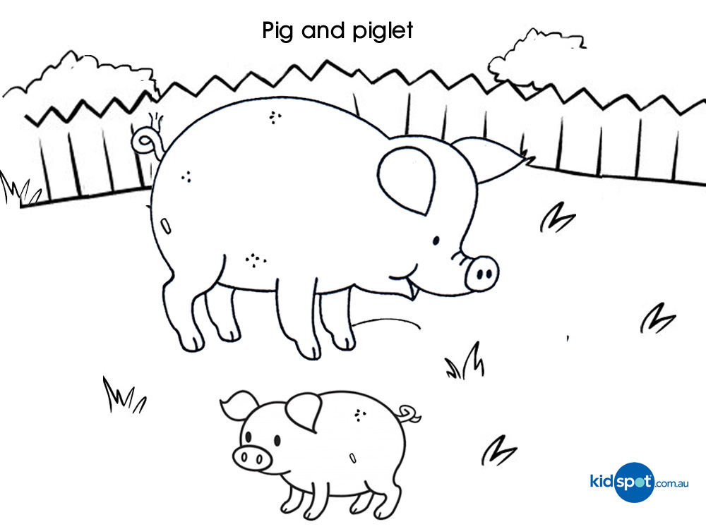 Colouring Pictures Of Animals And Their Young Ones Pigs Piglets Coloring Pages Download Print