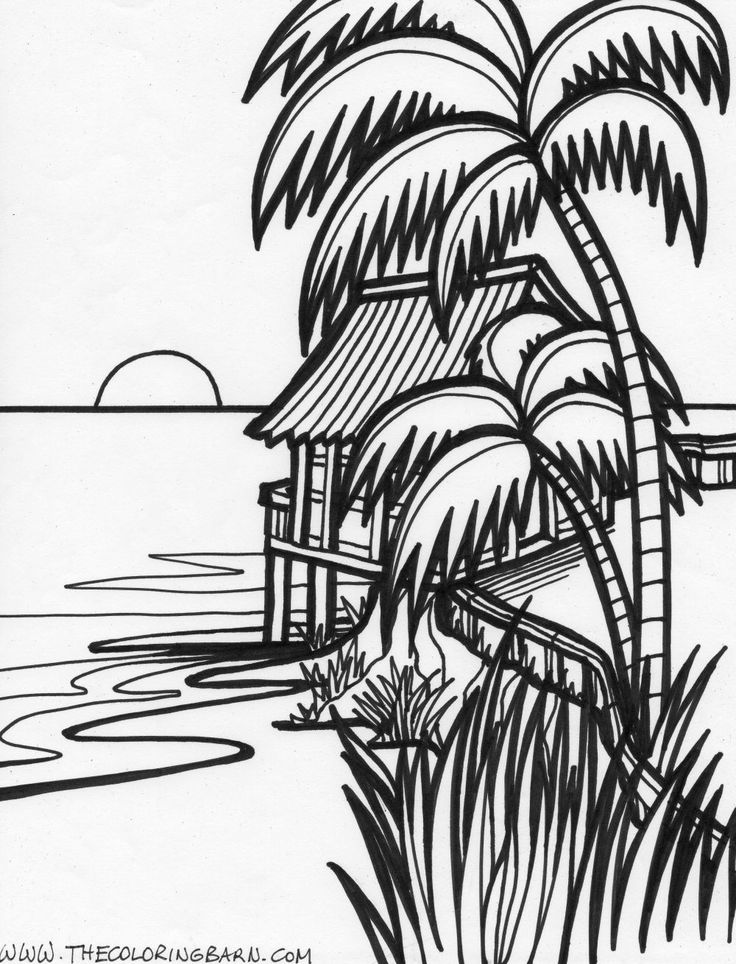 Sunset coloring pages to download