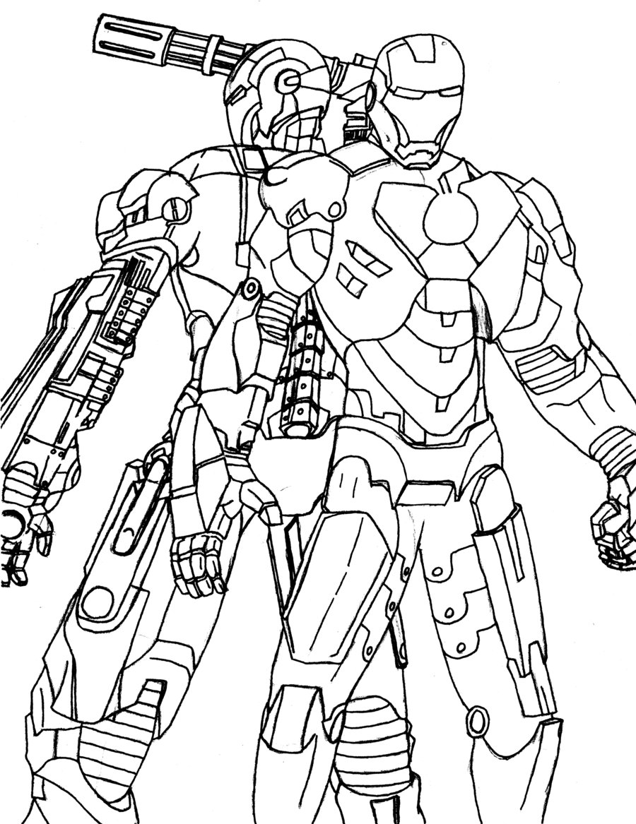 Ironman And War Machine Coloring Pages | Coloring Pages