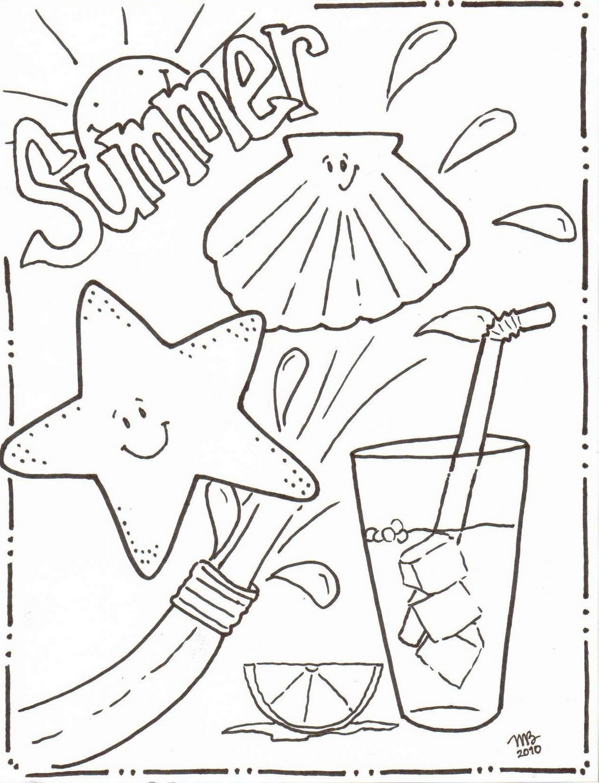 summer coloring pages to download and print for free - Summer Coloring Page