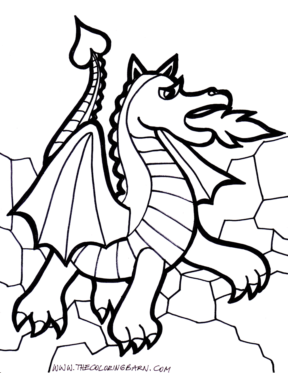 cartoon dragon coloring pages download and print for free - Dragon Coloring Page