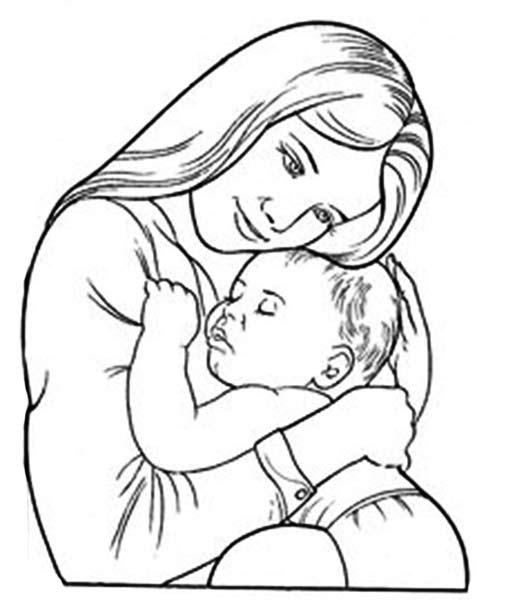 Мать с ребёнком раскраски