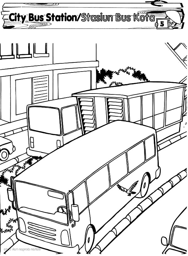 Bus station coloring pages download and print for free