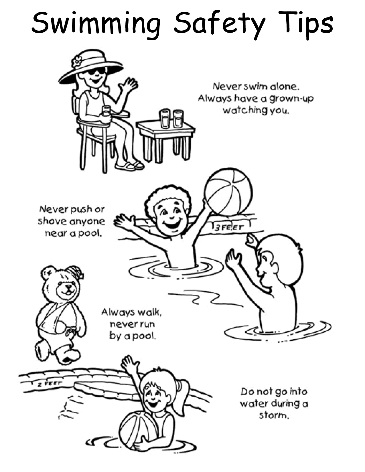 This is a photo of Clever Water Safety Coloring Page