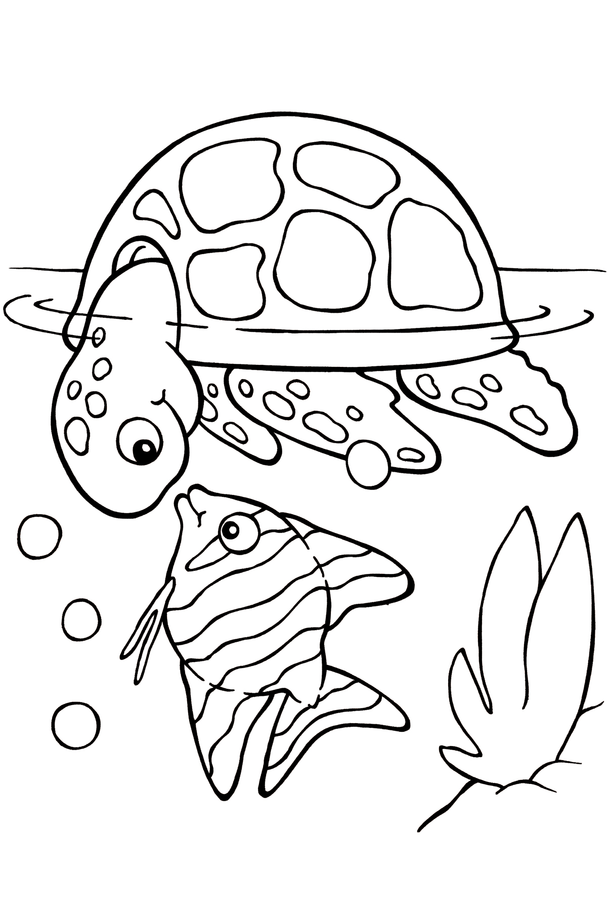 Sea turtle coloring pages to download and print for free for Color pages of fish