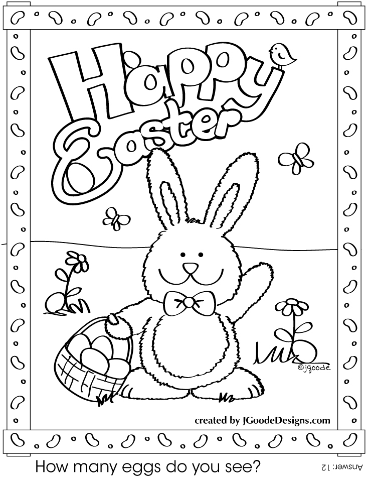 Bunny easter coloring pages download
