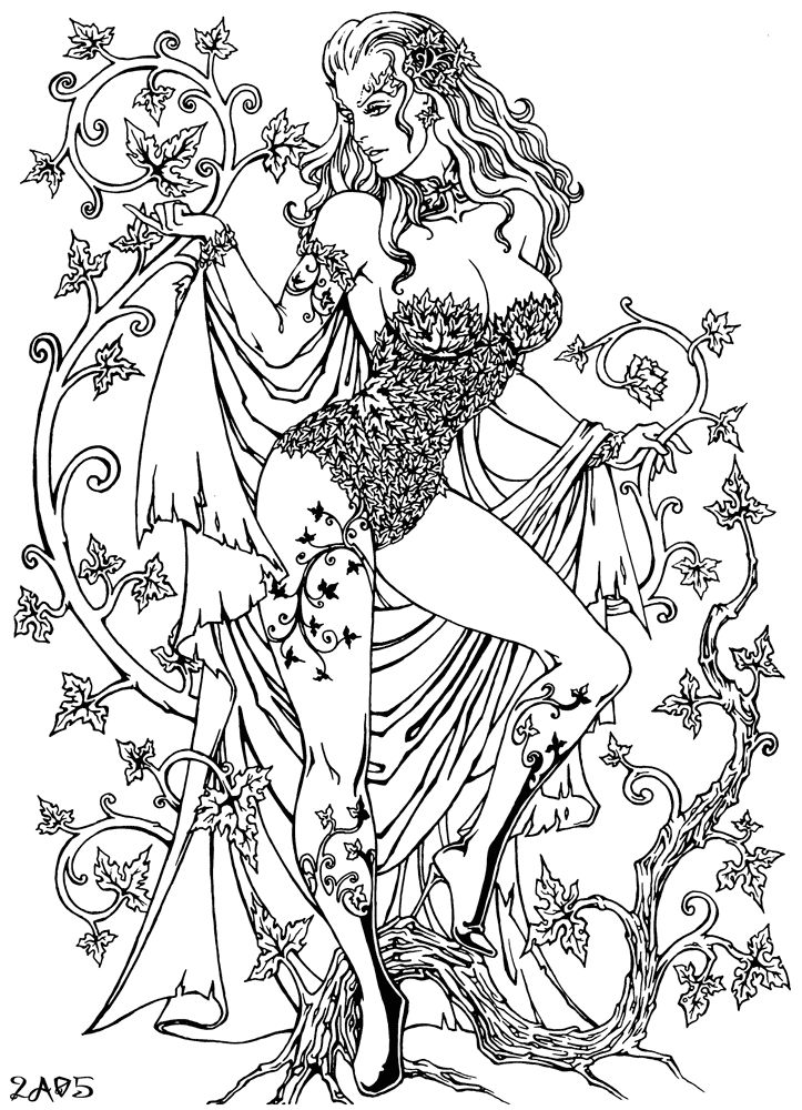 It is a picture of Gratifying Poison Ivy Coloring Page