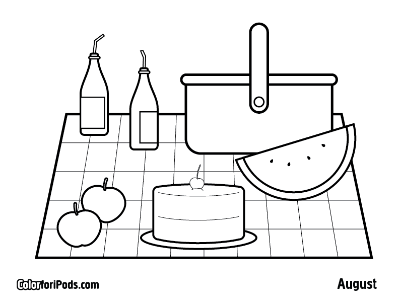 Picnic coloring pages to download