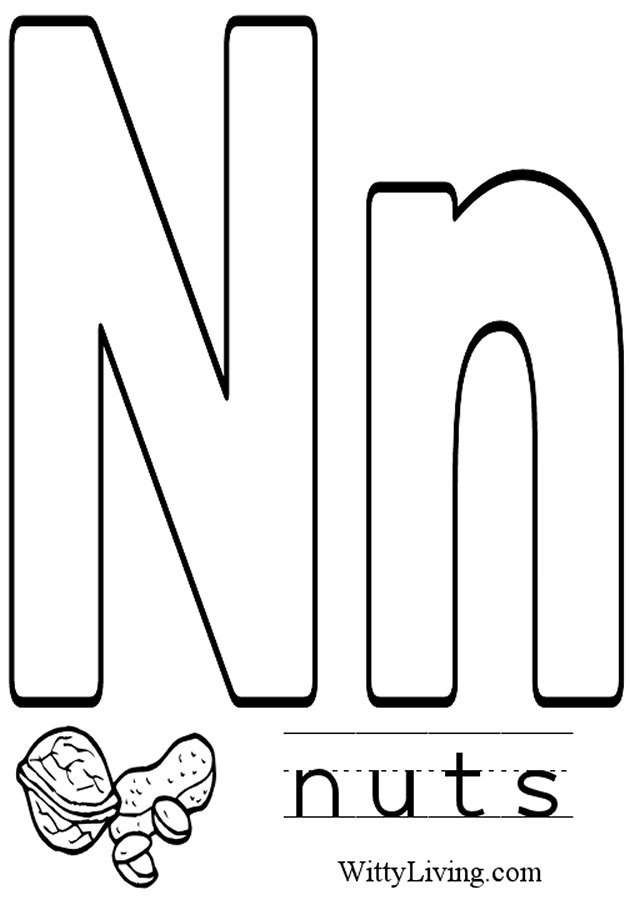 alphabet letters coloring pages n - photo#44