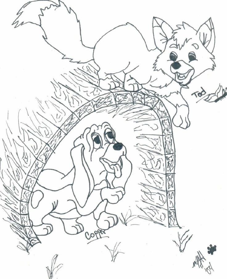 Fox and the hound coloring pages to download and print for free