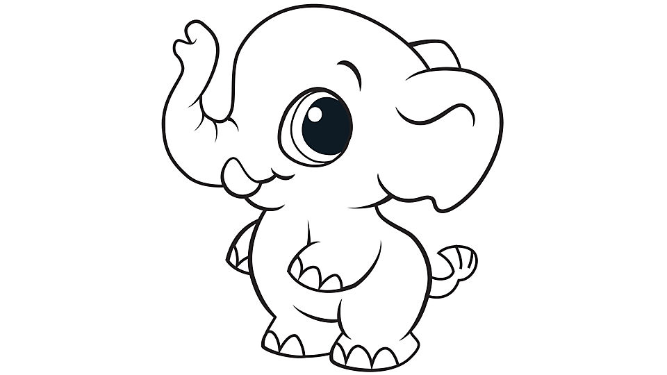 baby elephant coloring pages print - photo#1
