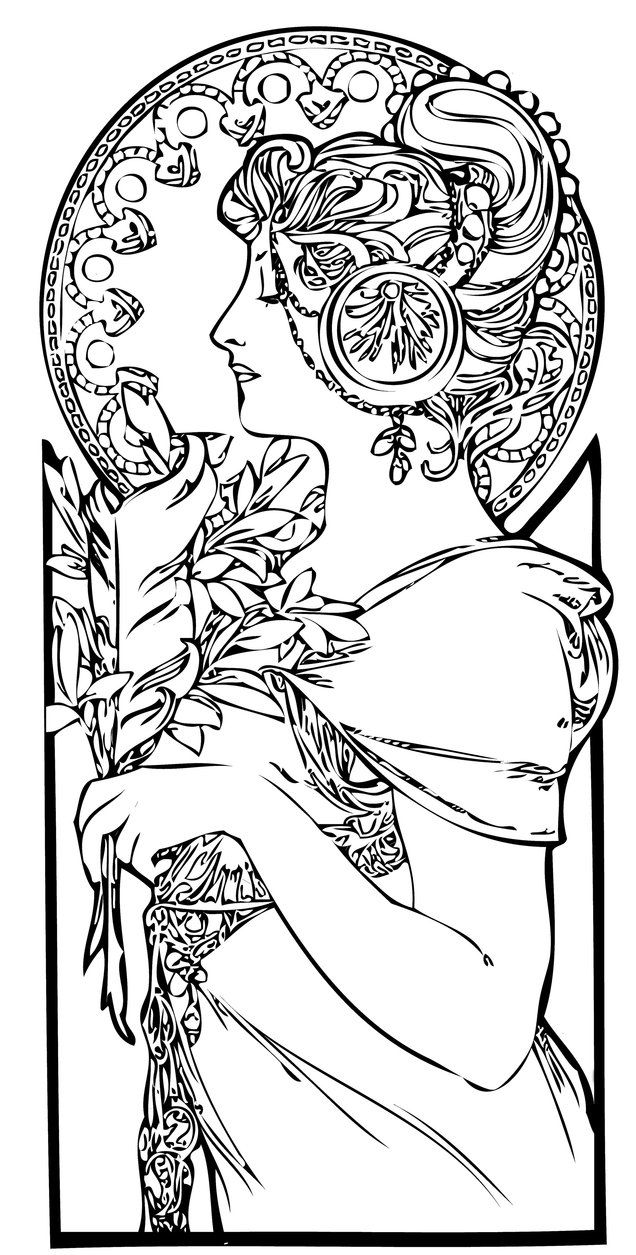 art nouveau coloring pages - photo#4