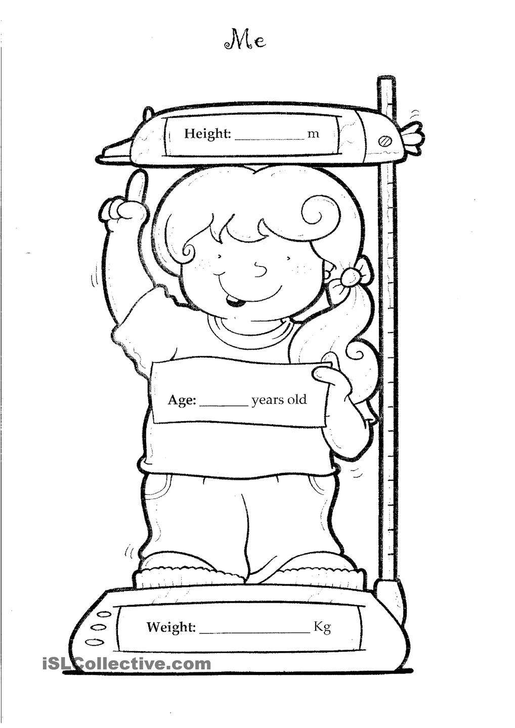 All about me coloring pages to