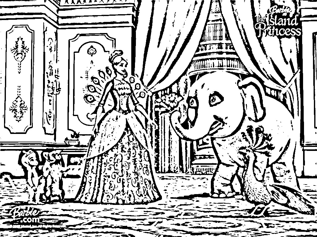 island princess barbie coloring pages - photo#20