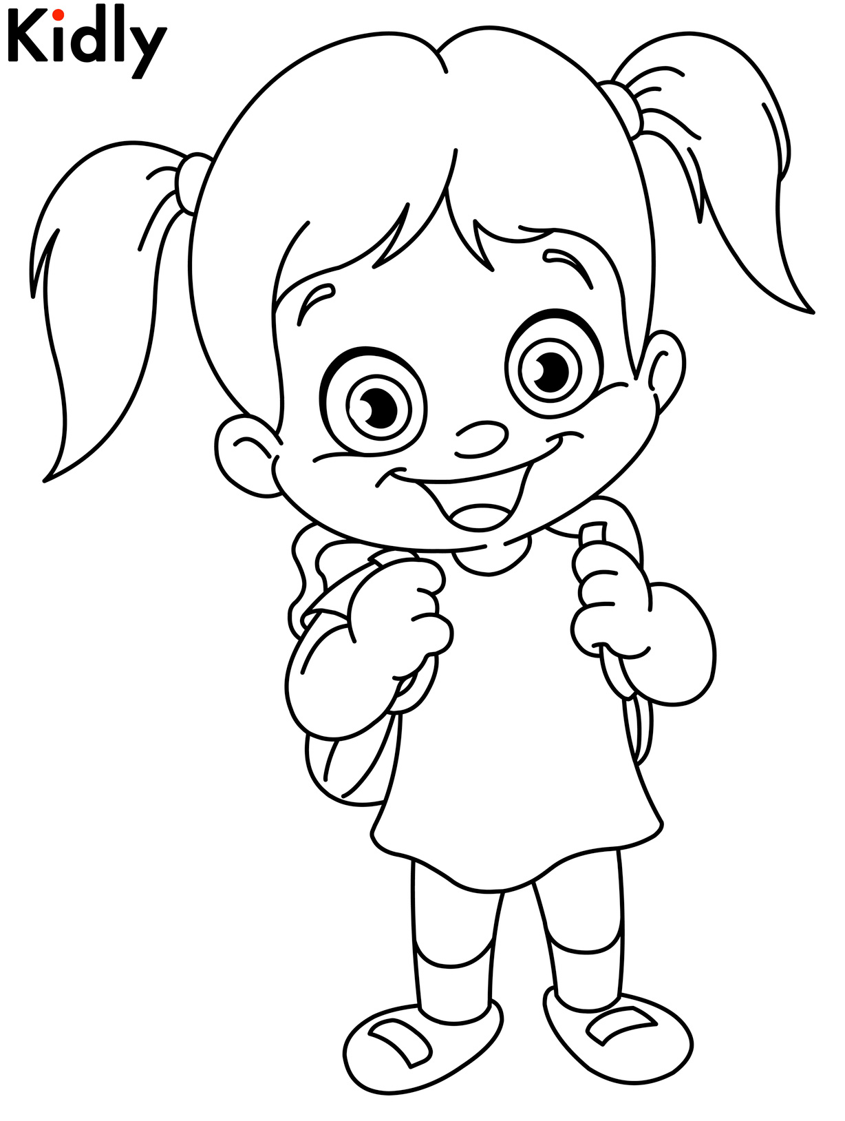Happy girl coloring pages download and print for free for Little girls coloring pages