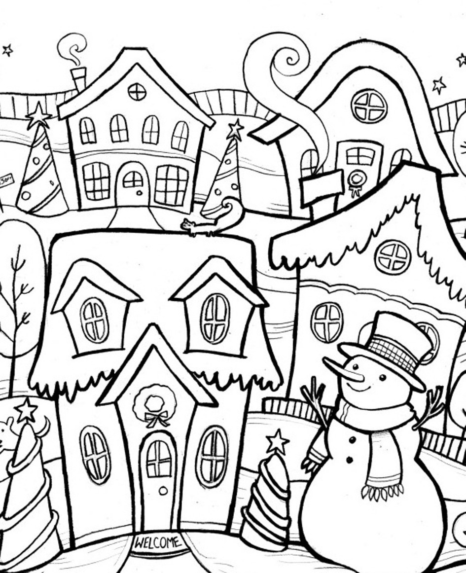 winter coloring pages to and print for free