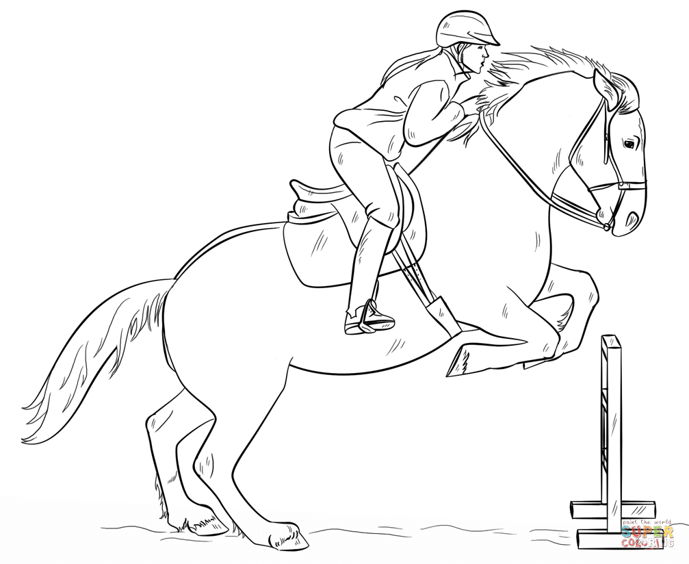 Horse riding coloring pages download