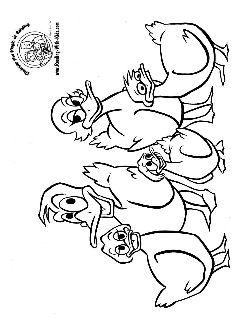 Free coloring pages ducks - Five Little Ducks Coloring Pages