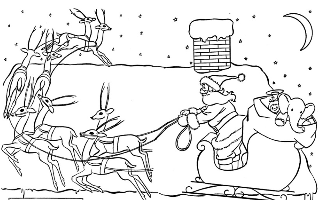 santas sleigh coloring pages - photo#34