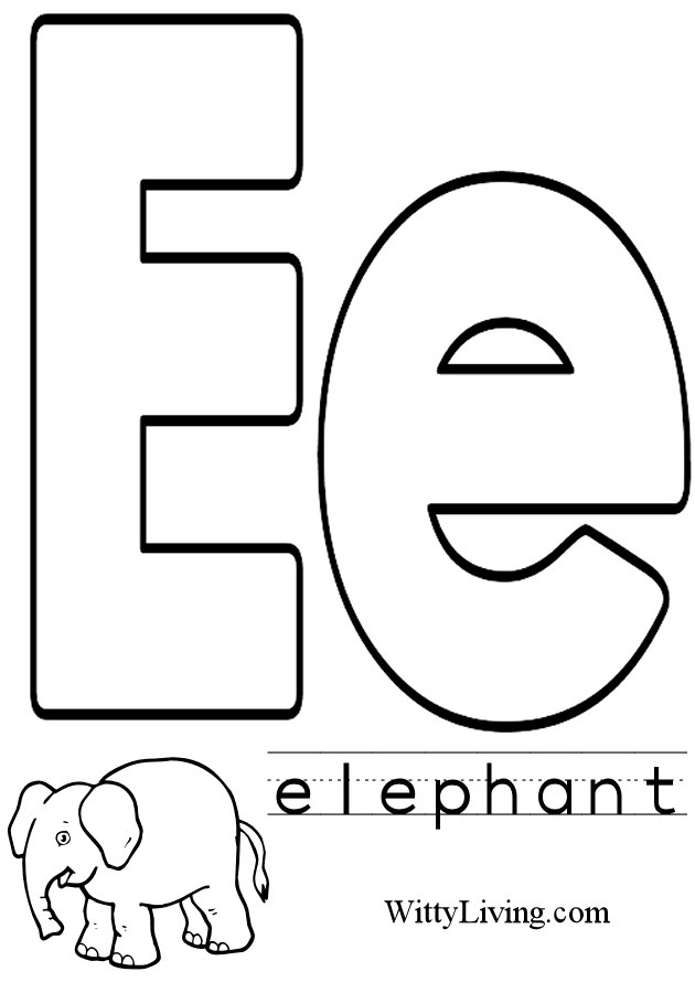 Letter E Colouring Sheets : Letter e coloring pages to download and print for free
